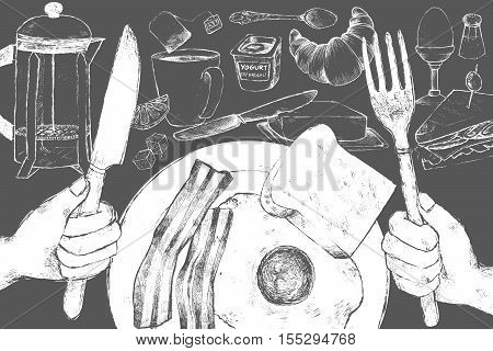 Plate with bacon and scrambled eggs and hand with a fork and a spoon in the foreground. Various food for breakfast. Vector illustration. White chalk on blackboard.
