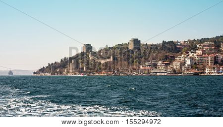 Rumelihisari, also known as Rumelian Castle and Roumeli Hissar Castle, is a fortress located in Istanbul, Turkey, on a hill at the European side of the Bosphorus