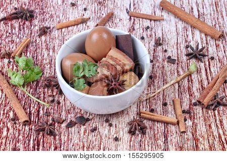 Stewed Boiled Egg With Tofu And Streaky Pork ,call Khai Palo In Thai.