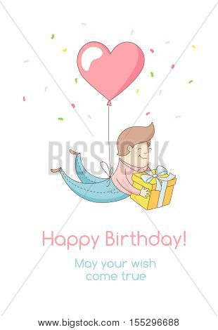 Happy Birthday Party Greeting Card Invitation Funny Kid Character Flying With Heart Balloon Holding