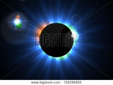 Glowing star beams abstract background with black blank circle. Shiny eclipse vector design