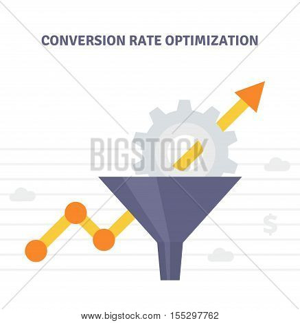 Conversion Optimization - vector illustration. Internet marketing conversion concept with Sales Funnel and growth chart. Conversion rate optimization banner in flat style. poster