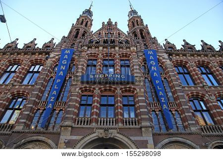 AMSTERDAM, NETHERLANDS - MAY 3, 2016: Historical Amsterdam shopping center Magna Plaza in Amsterdam, Holland