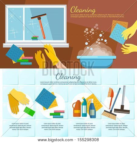 Cleaning service banners washing windows home cleaning carpet cleaning washing dishes vector illustration