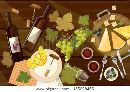 Wine and cheese tasting top view wine bottle and grapes on wooden table wine cartoon vector illustration