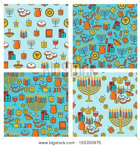 Hanukkah seamless pattern collection. Hanukkah simbols. Hanukkah candles menorah sufganiot and dreidel. Vector illustration for jewish holiday Hanukkah.