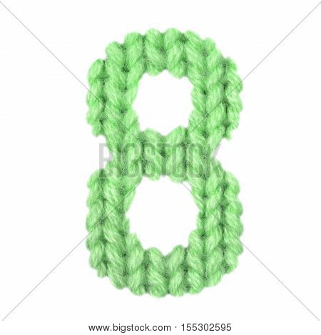 Number 8 (eight) alphabet on a blurry texture knitted pattern of woolen thread closeup. One figure of the alphabet. Education and holidays. Typography design. Color green