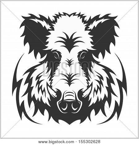 Wild Boar Head Logo Mascot Emblem - isolated on white