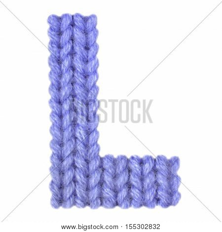 Letter L alphabet on a blurry texture knitted pattern of woolen thread closeup. One letter of the English alphabet. Education and holidays. Typography design. Color dark blue