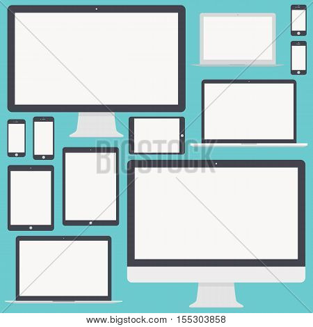 mockup gadget and device icons set in the style flat design isolated on blue background. stock vector illustration eps10