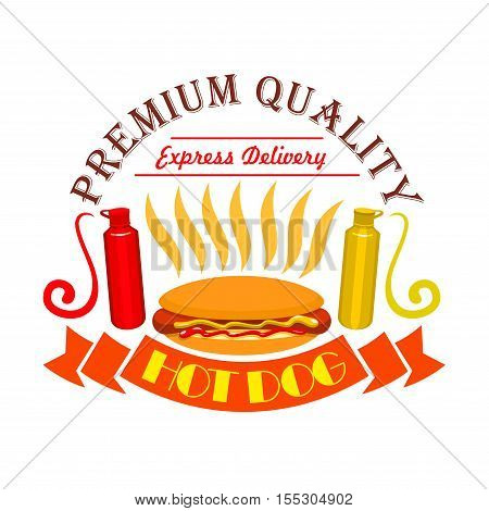 Hot dog icon. Fast food icon with elements of american  sausage, vegetables, buns, ketchup, mustard. Premium quality fast food label for fast food menu card, signboard, sticker design
