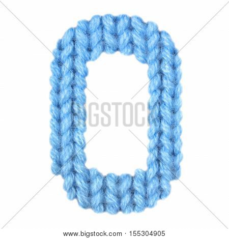 Letter O alphabet on a blurry texture knitted pattern of woolen thread closeup. One letter of the English alphabet. Education and holidays. Typography design. Color blue