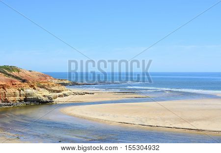 Beautiful scenic coastline estuary where Onkaparinga River flows into the ocean at Port Noarlunga South Australia.
