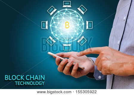 Blockchain technology concept Businessman holding smartphone and virtual system diagram bitcoin and data protection.