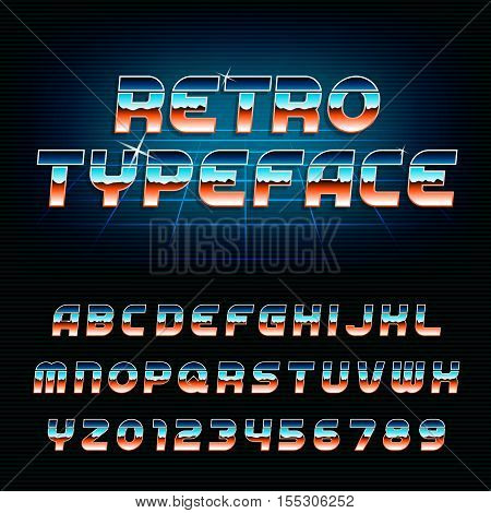 80's retro alphabet font. Chrome effect shiny oblique letters and numbers. Vector typeface for your design.