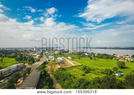 View of Mukdahan business center in Mukdahan Thailand, Mukdahan is also city of Thai - Lao P.D.R. border business center, view from Mukdahan Tower cityscape