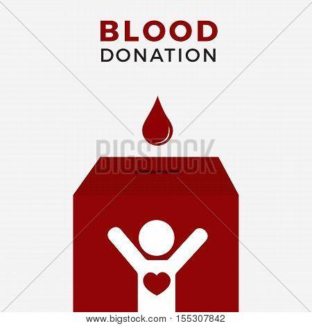 Drop Blood On Blood Donation Box illustration