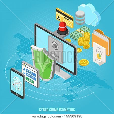 Cyber crime and data protection concept with isometric flat icons like shield, fingerprint, antivirus, safe and money. vector illustration.