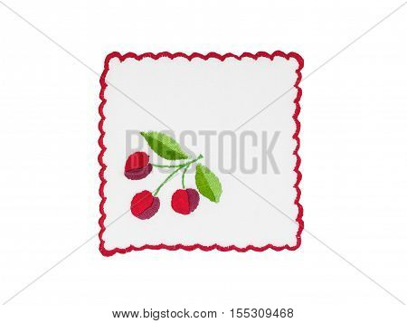 Embroidery with cherry motif isolated on white background