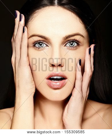 High fashion look.glamor closeup surprised smiling beauty portrait of beautiful Caucasian young woman model with no makeup with perfect clean skin
