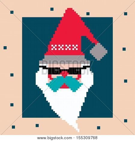 Pixel Santa. Vector cartoon character logo in red hat and dark glasses white beard and blue moustache