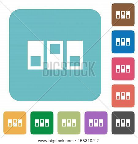 Switchboard white flat icons on color rounded square backgrounds