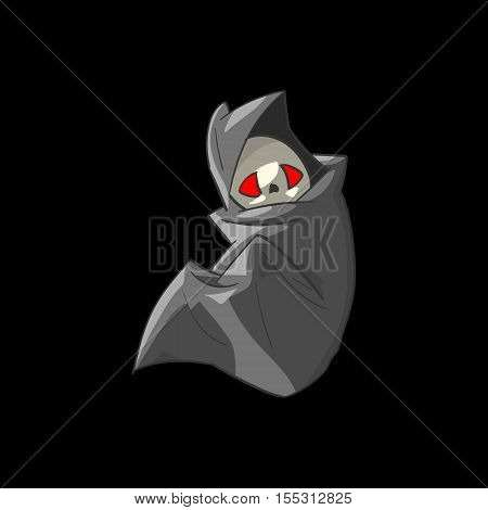 Colorful vector illustration of a cute cartoon grim reaper