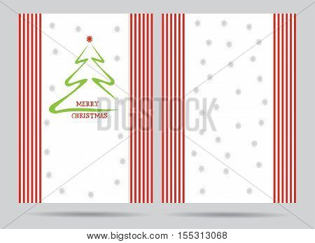 Christmas greeting card - template with abstract pine tree