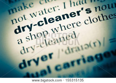 Close Up Of Old English Dictionary Page With Word Dry Cleaner
