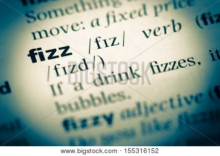 Close Up Of Old English Dictionary Page With Word Fizz