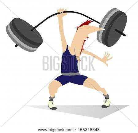 Weightlifter. Cartoon man lifting a heavy weight by one hand