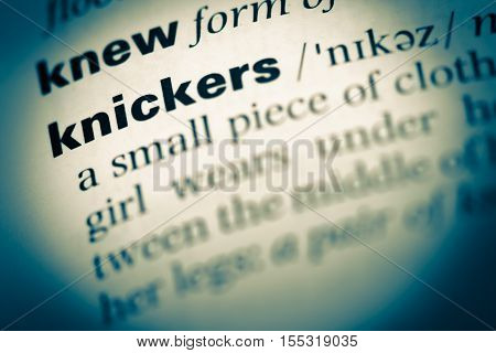 Close Up Of Old English Dictionary Page With Word Knickers