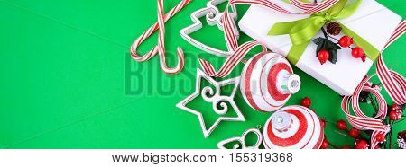 Modern Festive Green, White And Red Theme Christmas Holiday Bann