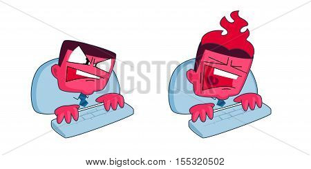 Vector cartoon style stressed businessman typing on computer and shouting. Head is burning. Deadline and stress concept illustrations.