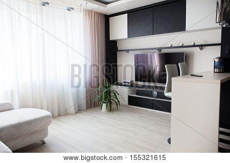 Interior parlor. Modern parlour. Hall. TV