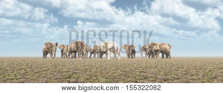 Computer generated 3D illustration with a white elephant in an elephant herd