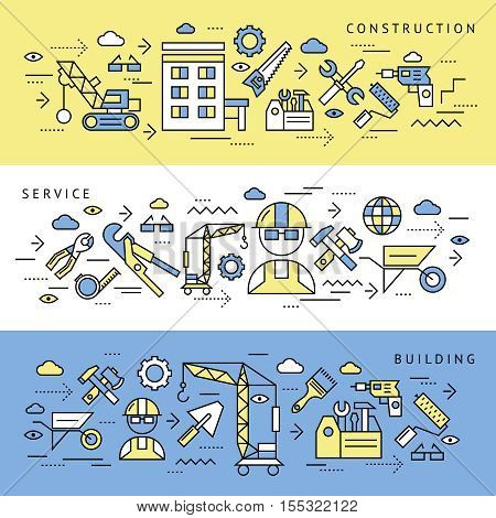 Construction service and building editable horizontal banners set with appropriate technical tools and equipment isolated symbols vector illustration