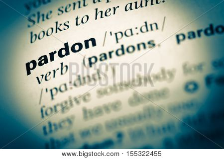 Close Up Of Old English Dictionary Page With Word Pardon