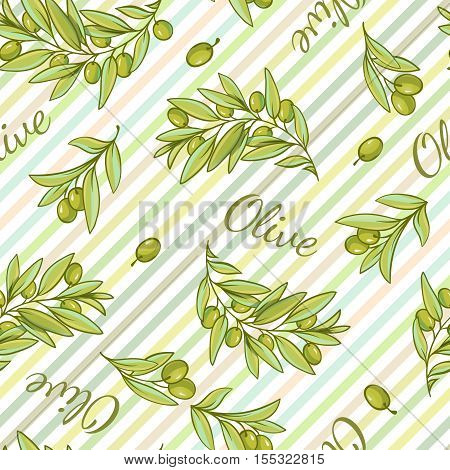 Pattern with stripped background of pantone tones and hand drawn style olive branches and text flat vector illustration