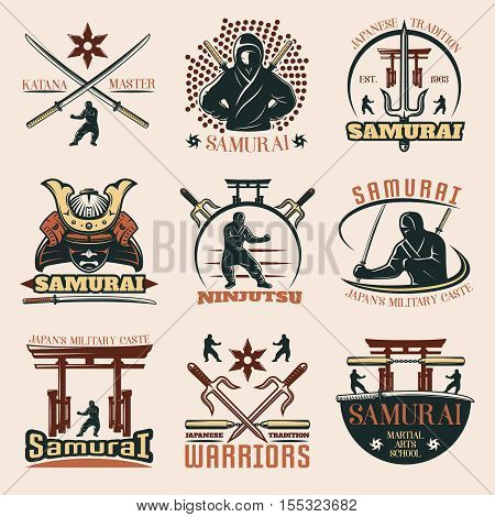 Set of isolated samurai martial emblems with captions and images of weapons torii and warrior symbols vector illustration