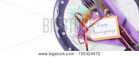 Happy Thanksgiving Modern Purple And White Place Setting Social Media Banner