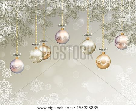 Christmas festive background with fir tree branches snowflakes ornaments