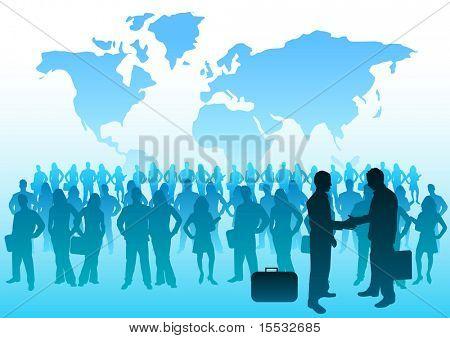 A huge crowd of international business people