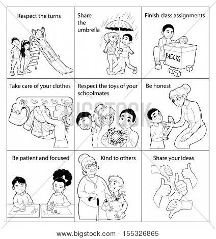 List of good rules for children in the school. Vector black and white illustration