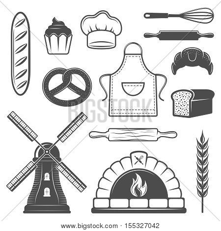Bakery monochrome elements set with bread and pastry oven culinary tools mill and wheat isolated vector illustration