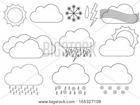 Big collection of weather icons eg. for forecast applications - silhouette elements for sun cloud snowflake windy cloudy rainy sleet lightning
