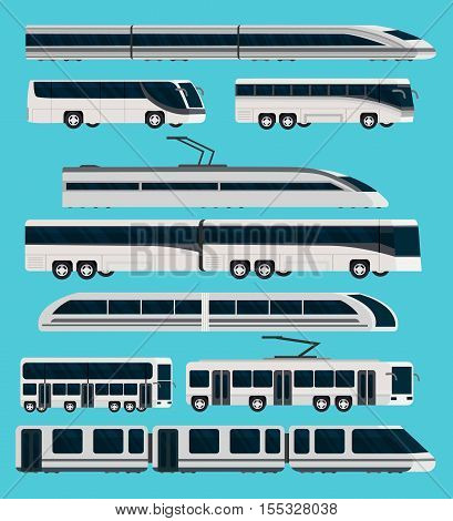 Public transport orthogonal icons set with automotive and railway vehicles on blue backdrop isolated vector illustration