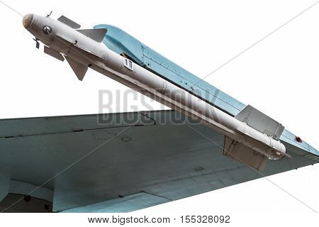 missile under the wing attack aircraft isolated on white background