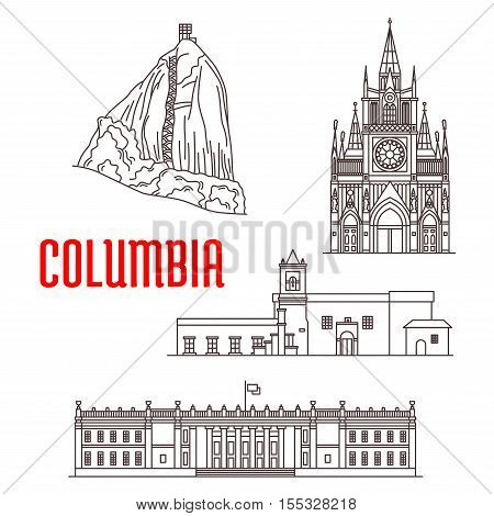 Colombia. El Penon de Guatape Rock, Iglesia de la Merced church, Las Lajas Sanctuary, Colombia Capitol. Tourist landmarks and architecture of Colombia vector detailed icons