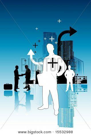 Inner city business people illustration.